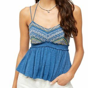 Free People Blue Embroidered Halter Top